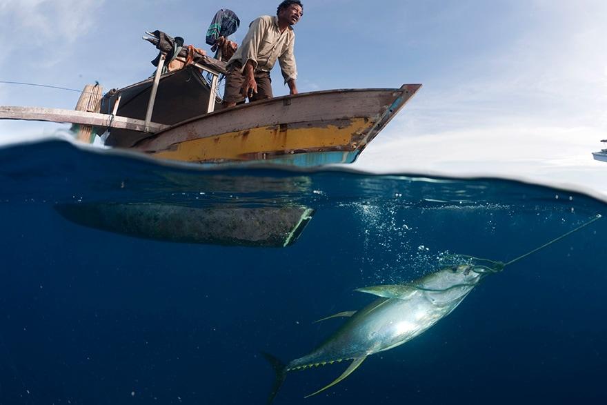 Pêcheurs en mer dans les Îles Kai, Indonésie