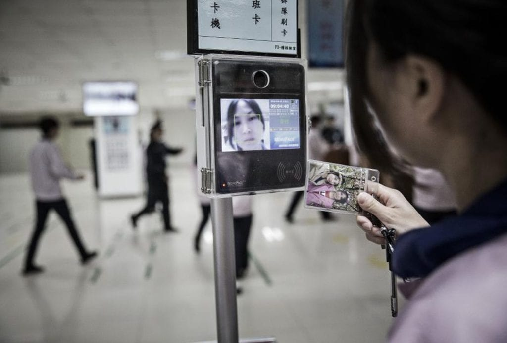 Payment by facial recognition in a store in China facial recognition in a store in China