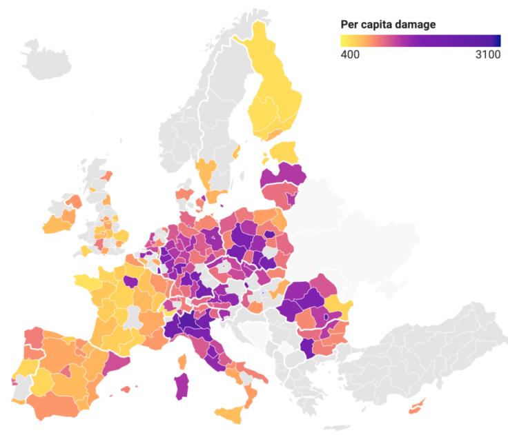 Coût par habitant des dommages causés par la pollution de l'air dans les villes européennes